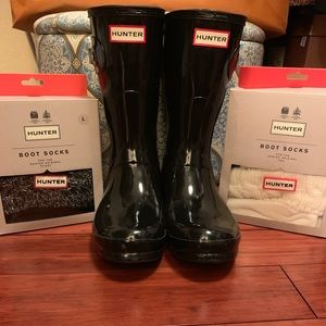 Hunter Rain Boots with Boot Socks